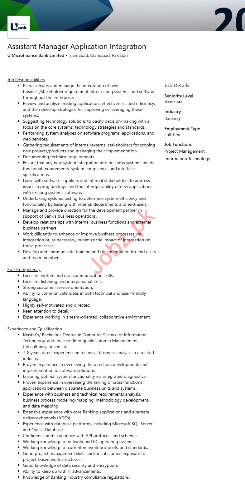 Assistant Manager Application Integration Jobs 2020