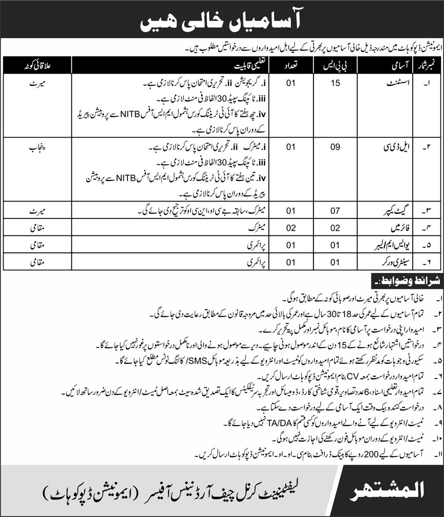 Pakistan Army Ammunition Depot Jobs 2020 in Kohat KPK