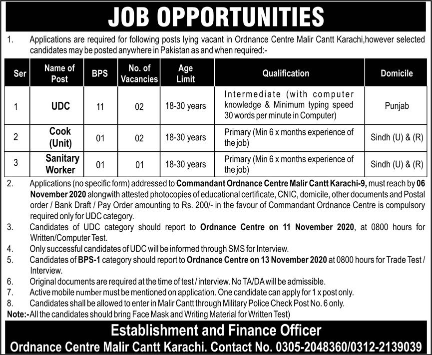 Pakistan Army Ordnance Centre Malir Cantt Karachi Jobs 2020