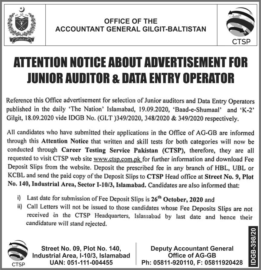 Accountant General Gilgit Baltistan Jobs 2020 via CTSP