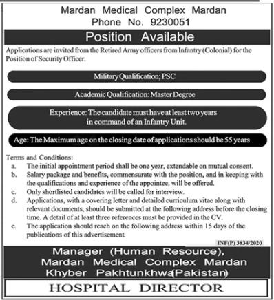 Mardan Medical Complex Job 2020 in Mardan KPK