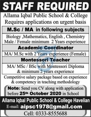 Allama Iqbal Public School and College Jobs 2020
