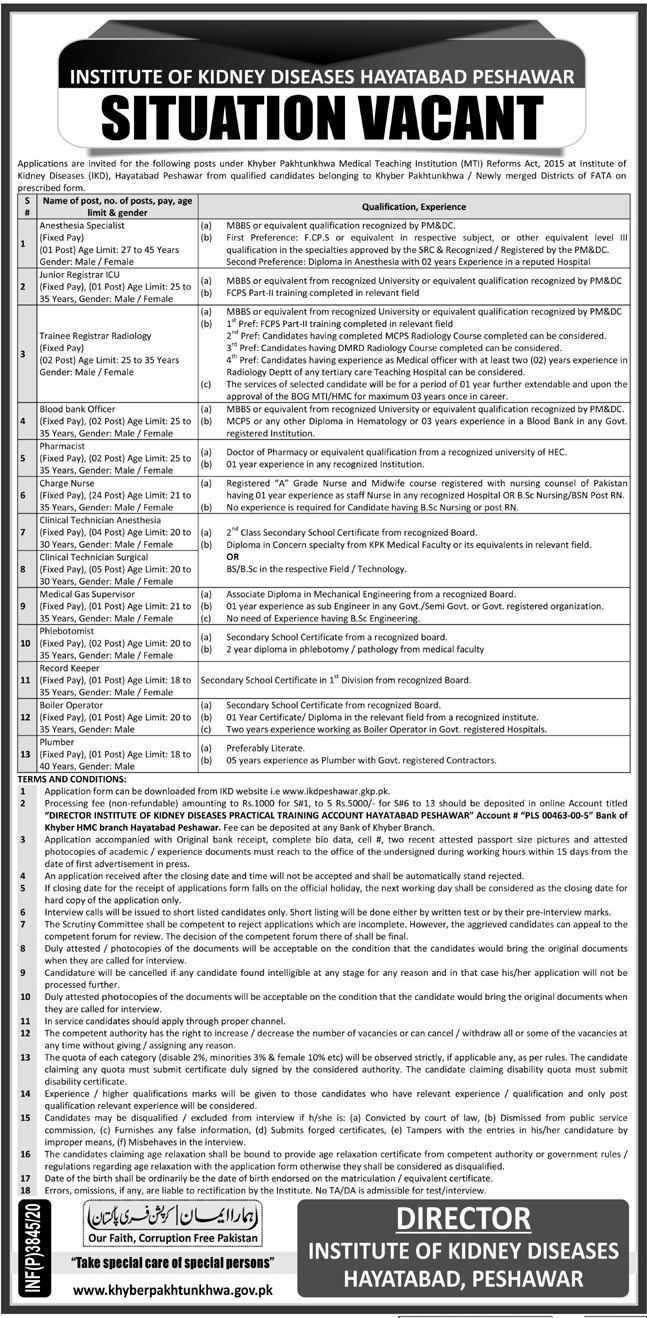 Institute of Kidney Diseases Jobs 2020 For Peshawar