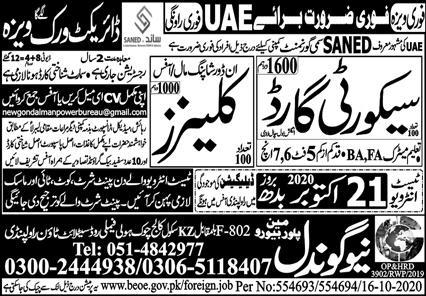 New Gondal Manpower Bureau Jobs 2020 in UAE