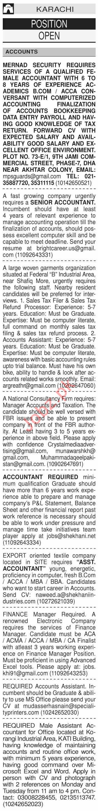 Dawn Sunday Classified Ads 18 Oct 2020 for Accounts Staff