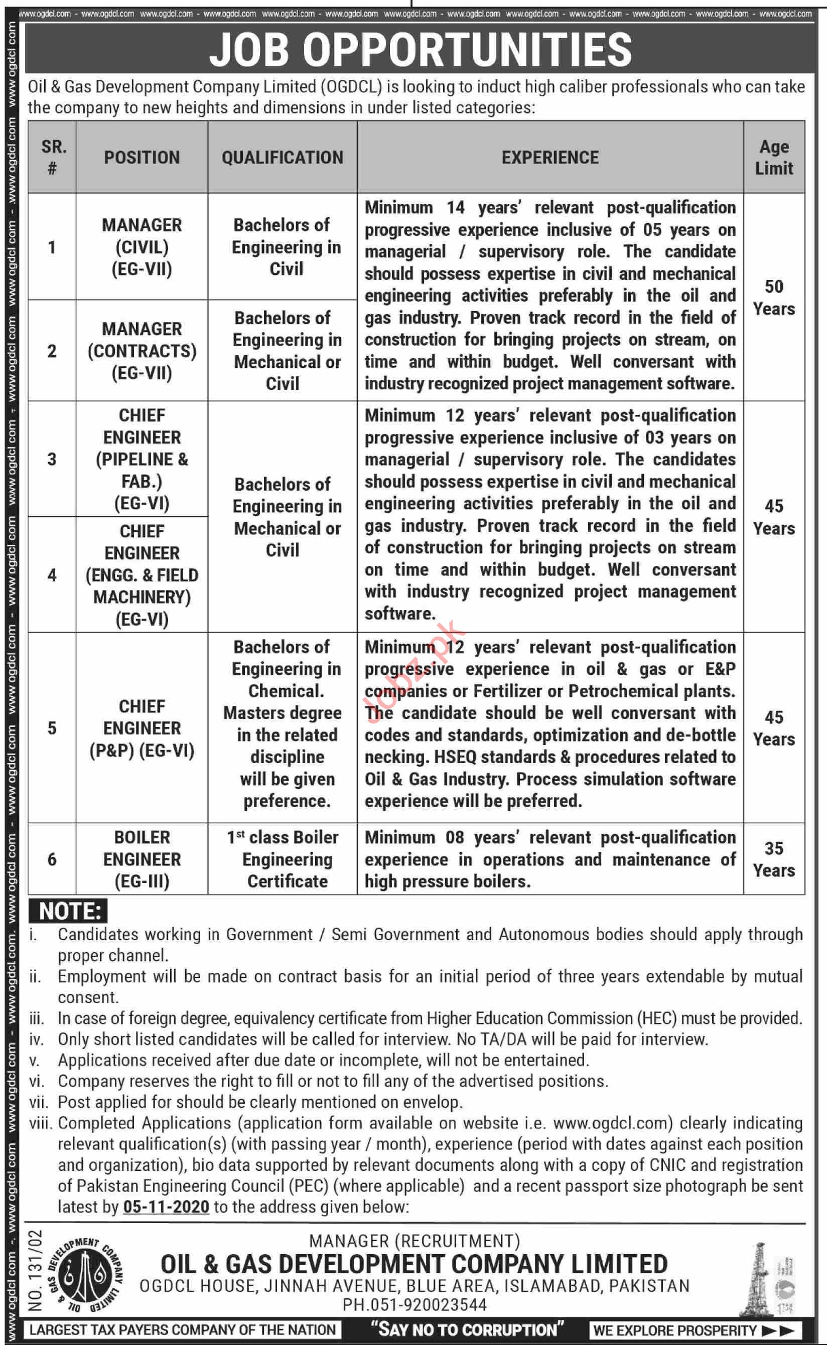 OGDCL Islamabad Jobs 2020 for Civil Manager & Engineer