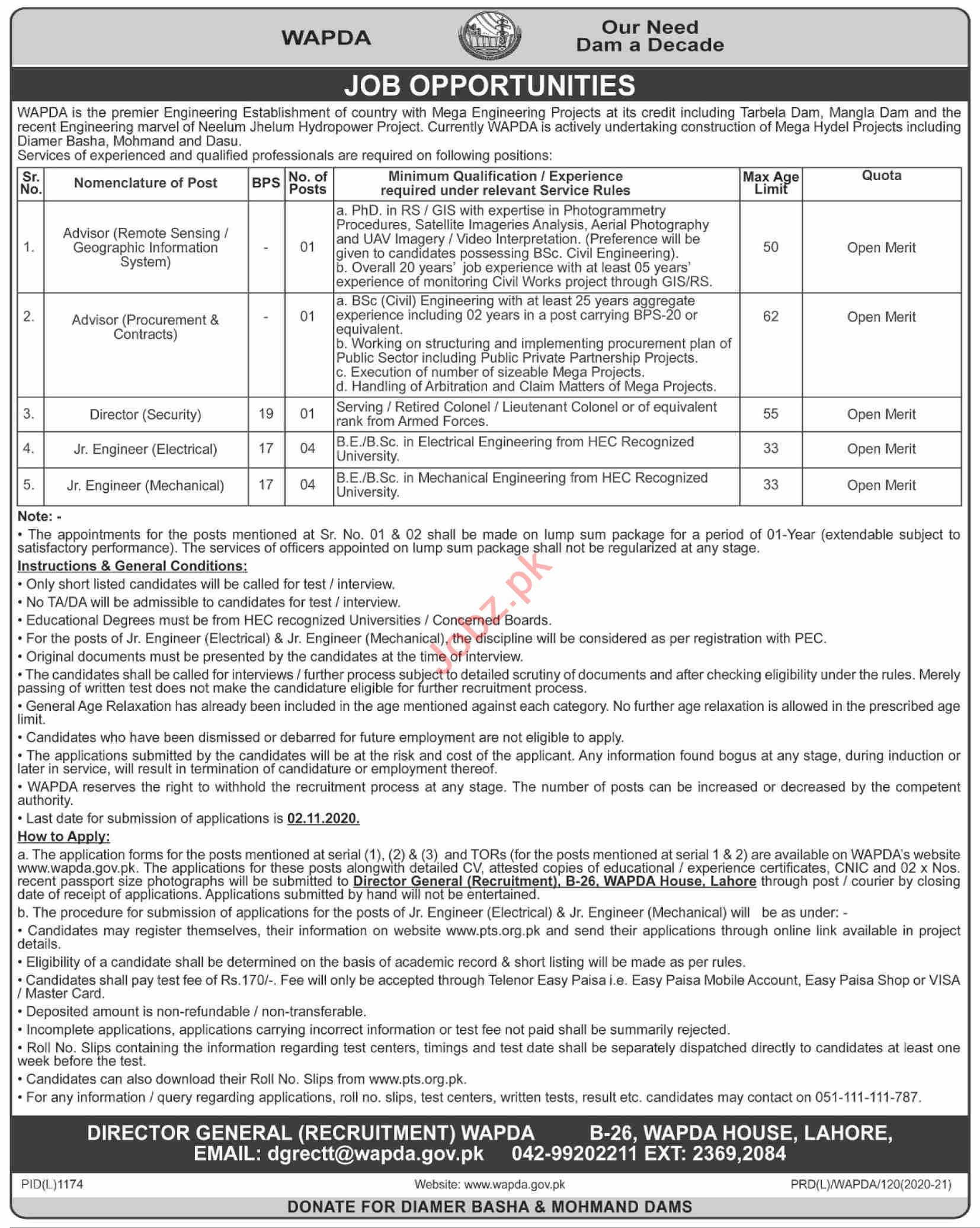 Neelum Jhelum HydroElectric Project NJHEP Jobs 2020