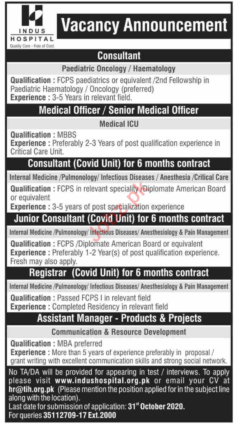 Indus Hospital Jobs 2020 for Medical Consultant & Registrar