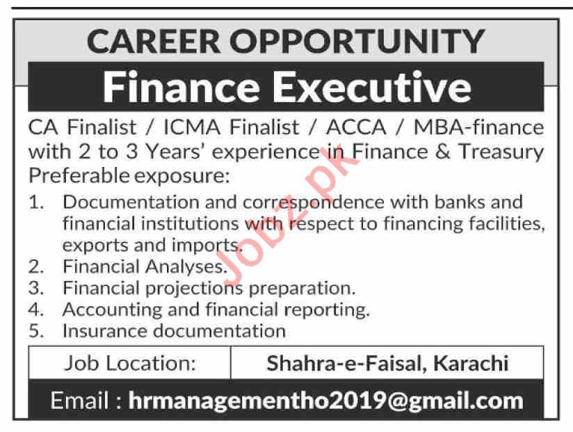 Finance Executive & Finance Officer Jobs 2020 in Karachi