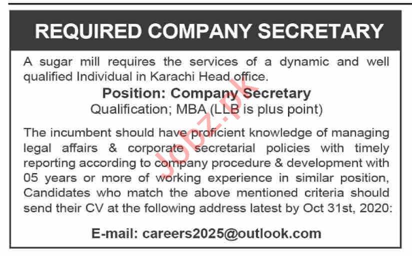 Company Secretary & Secretary Jobs 2020 in Karachi