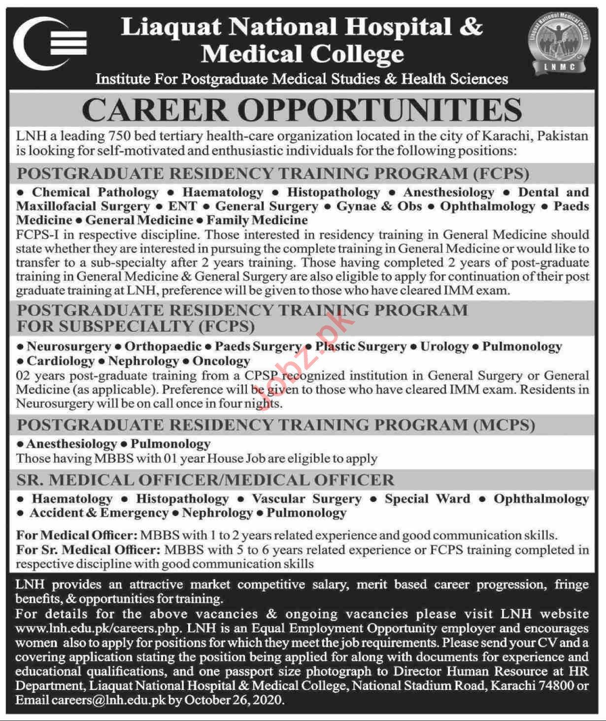 Liaquat National Hospital & Medical College LNMC Jobs 2020