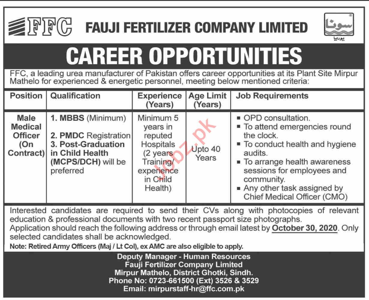 FFC Fauji Fertilizer Company Ghotki Jobs 2020 for Doctor