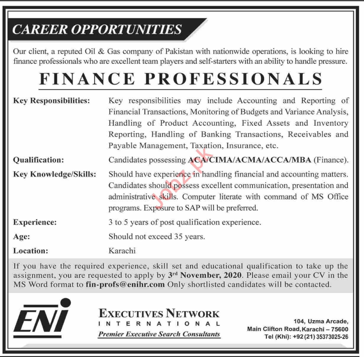 Finance Manager & Finance Executive Jobs 2020 in Karachi