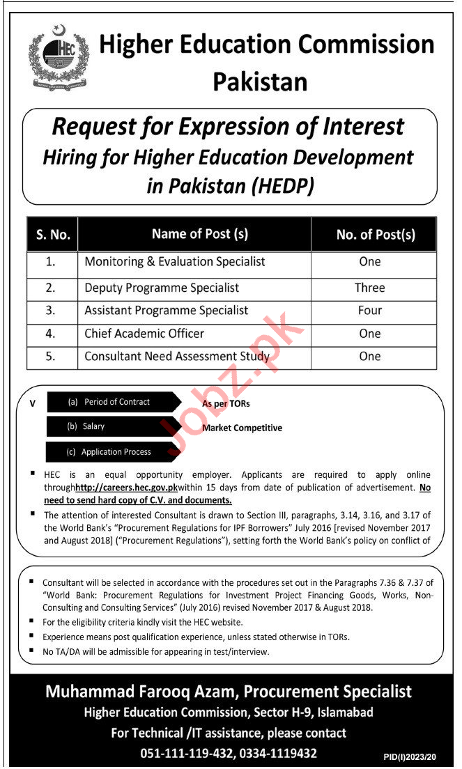 Higher Education Development in Pakistan HEDP Jobs 2020