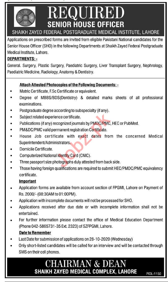 Shaikh Zayed Federal Postgraduate Medical Institute Jobs