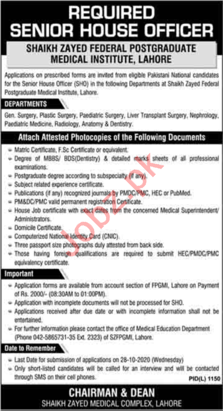 Shaikh Zayed Hospital Lahore Jobs 2020 Medical Consultants