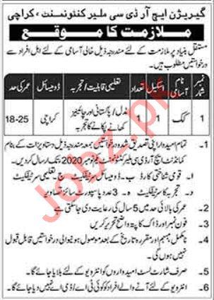 Pakistan Army Garrison HRDC Malir Cantt Karachi Jobs 2020