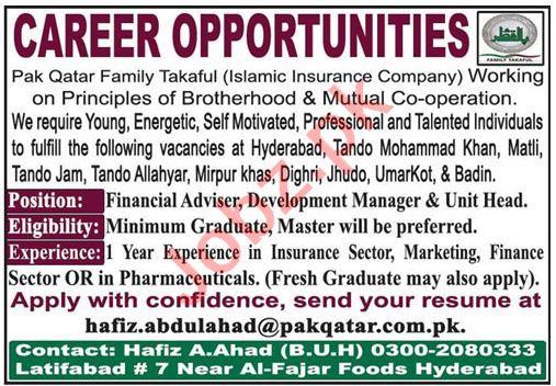 Pak Qatar Family Takaful Sindh Jobs 2020 Financial Advisor