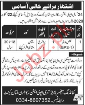 24 Army Aviation Squadron Multan Cantt Jobs 2020 for Waiter