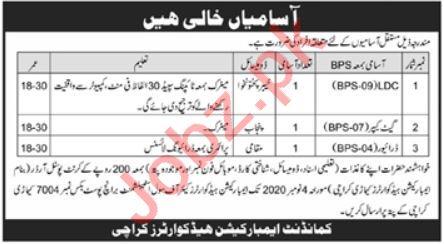 Embrocation Headquarter Karachi Jobs 2020 for LDC