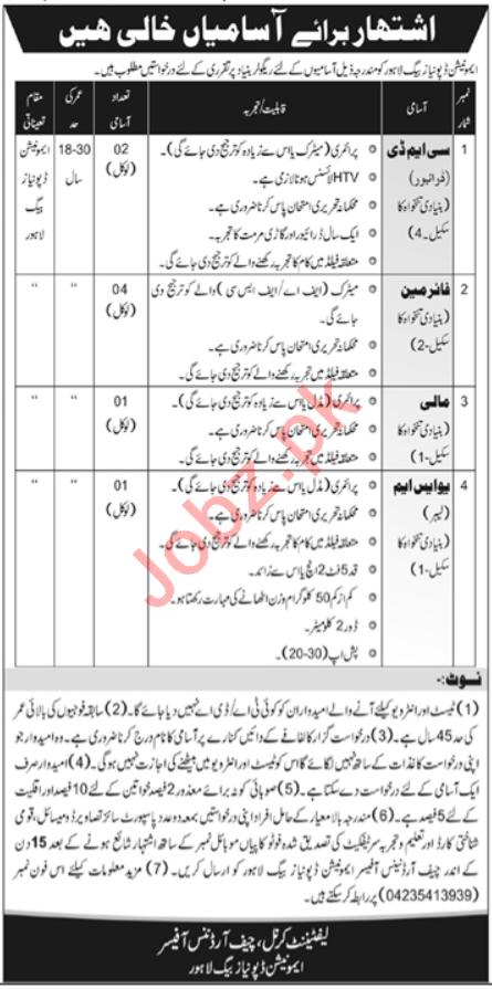 Pakistan Army Ammunition Depot Lahore Jobs 2020 for CMD