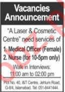 Female Medical Officer & Nurse Jobs 2020 in Islamabad