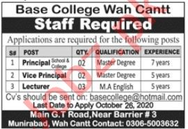 Base College Wah Cantt Jobs 2020 for Lecturers & Principal