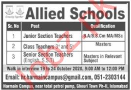 Allied School Ghouri Town Phase 2 Islamabad Jobs 2020
