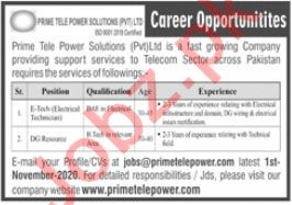 Prime Tele Power Solutions Islamabad Jobs 2020 for Engineer