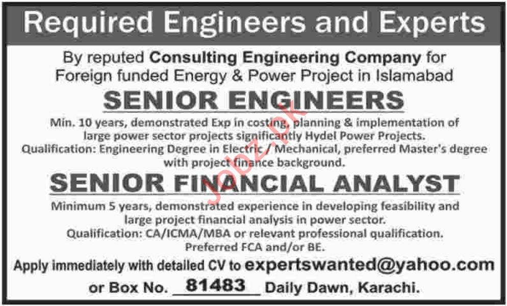 Senior Engineer & Senior Financial Analyst Jobs 2020
