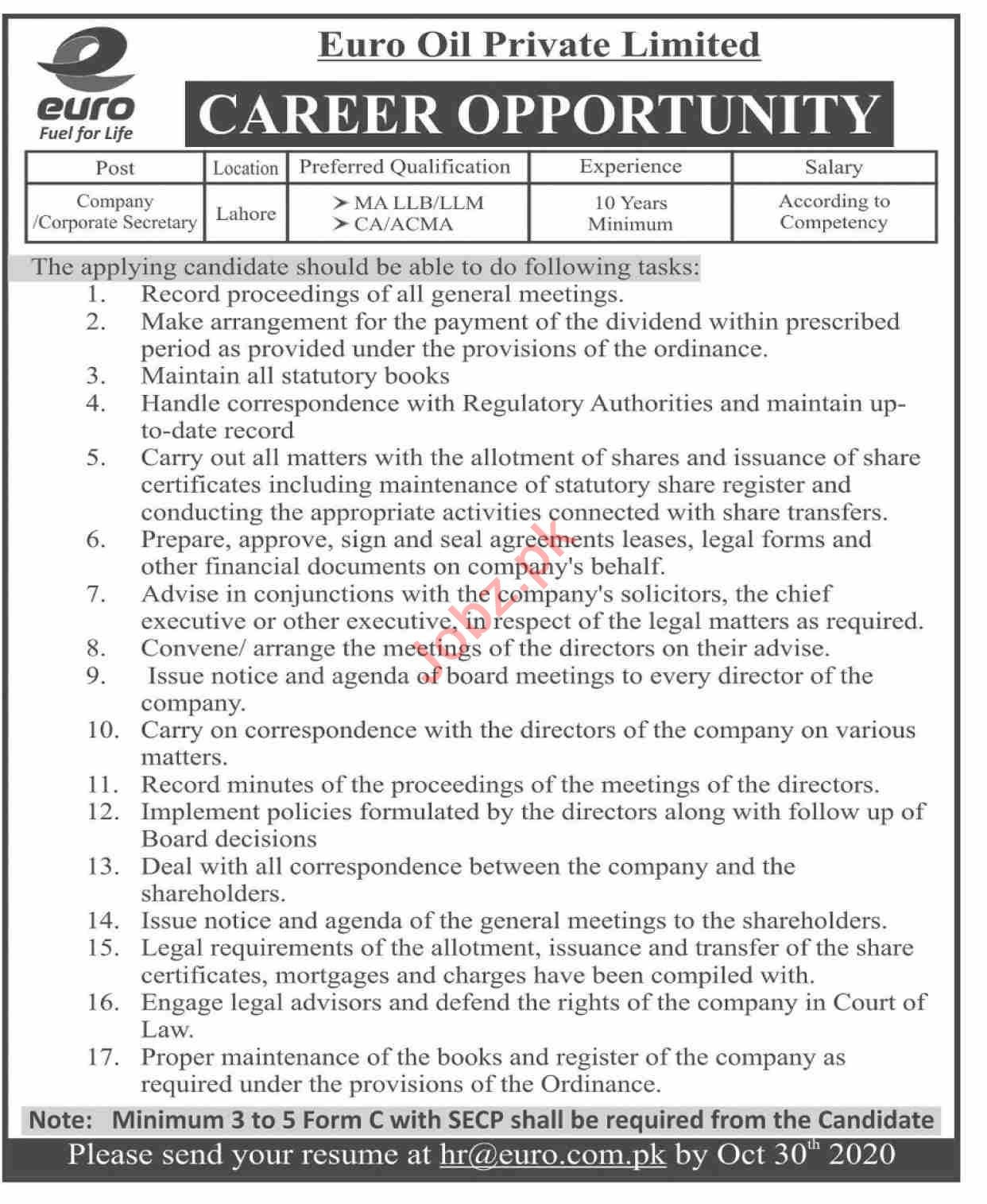 Euro Oil Jobs 2020 for Company Secretary & Secretary