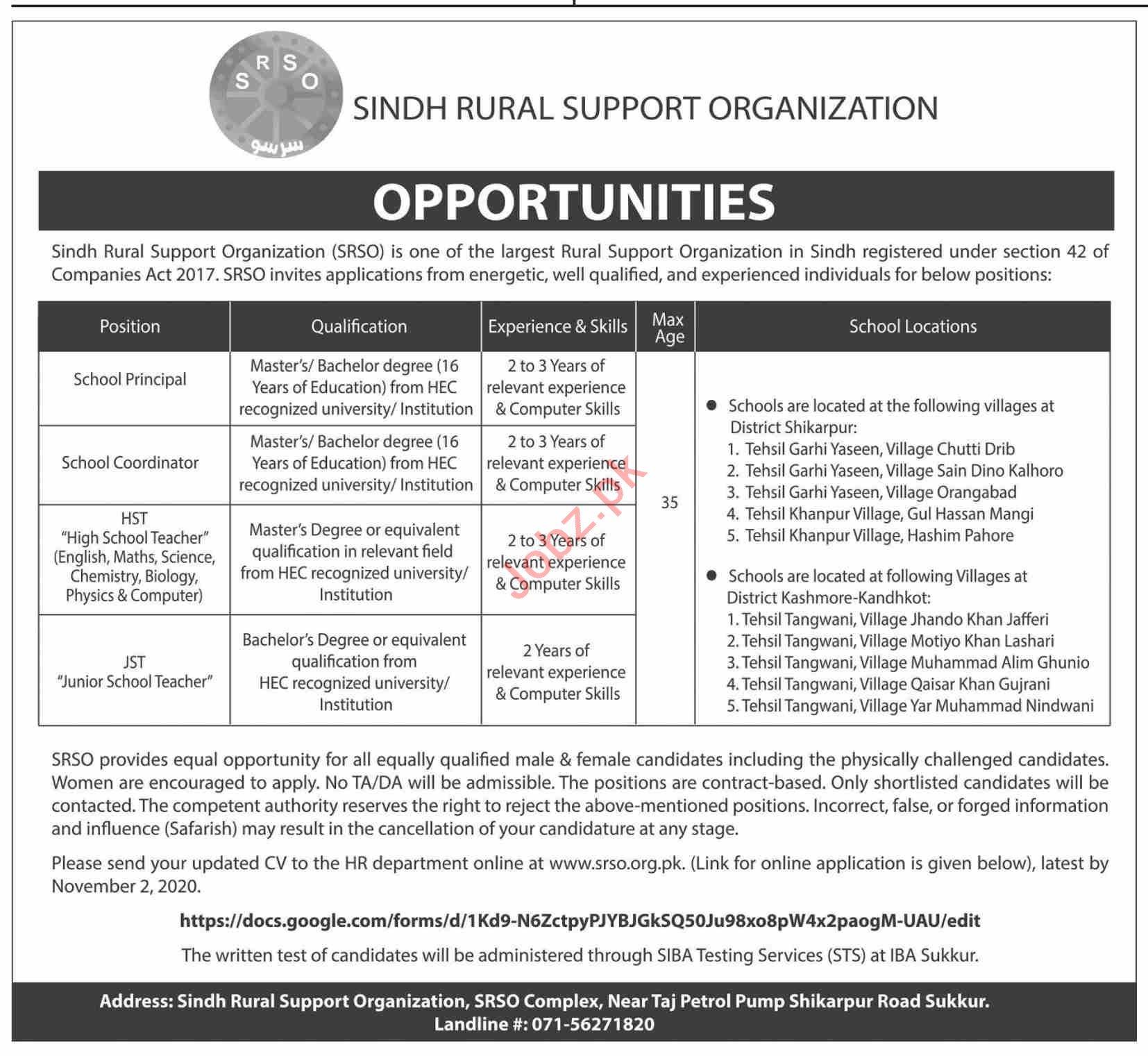 Sindh Rural Support Organization SRSO Sukkur Jobs 2020