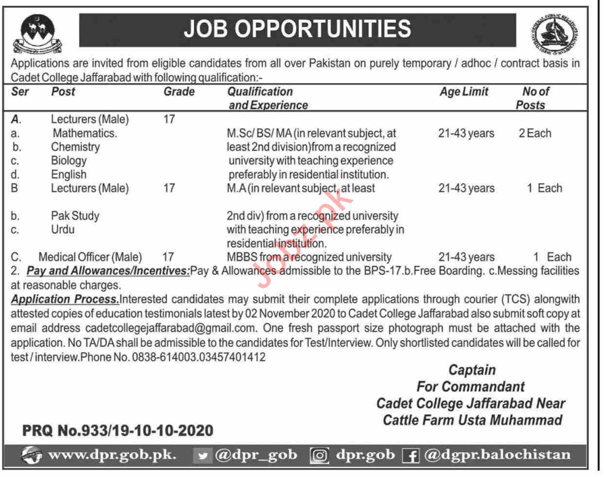 Cadet College Jaffarabad CCJ Jobs 2020 for Lecturers