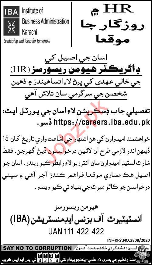 IBA Institute Karachi Jobs 2020 for Director Human Resource