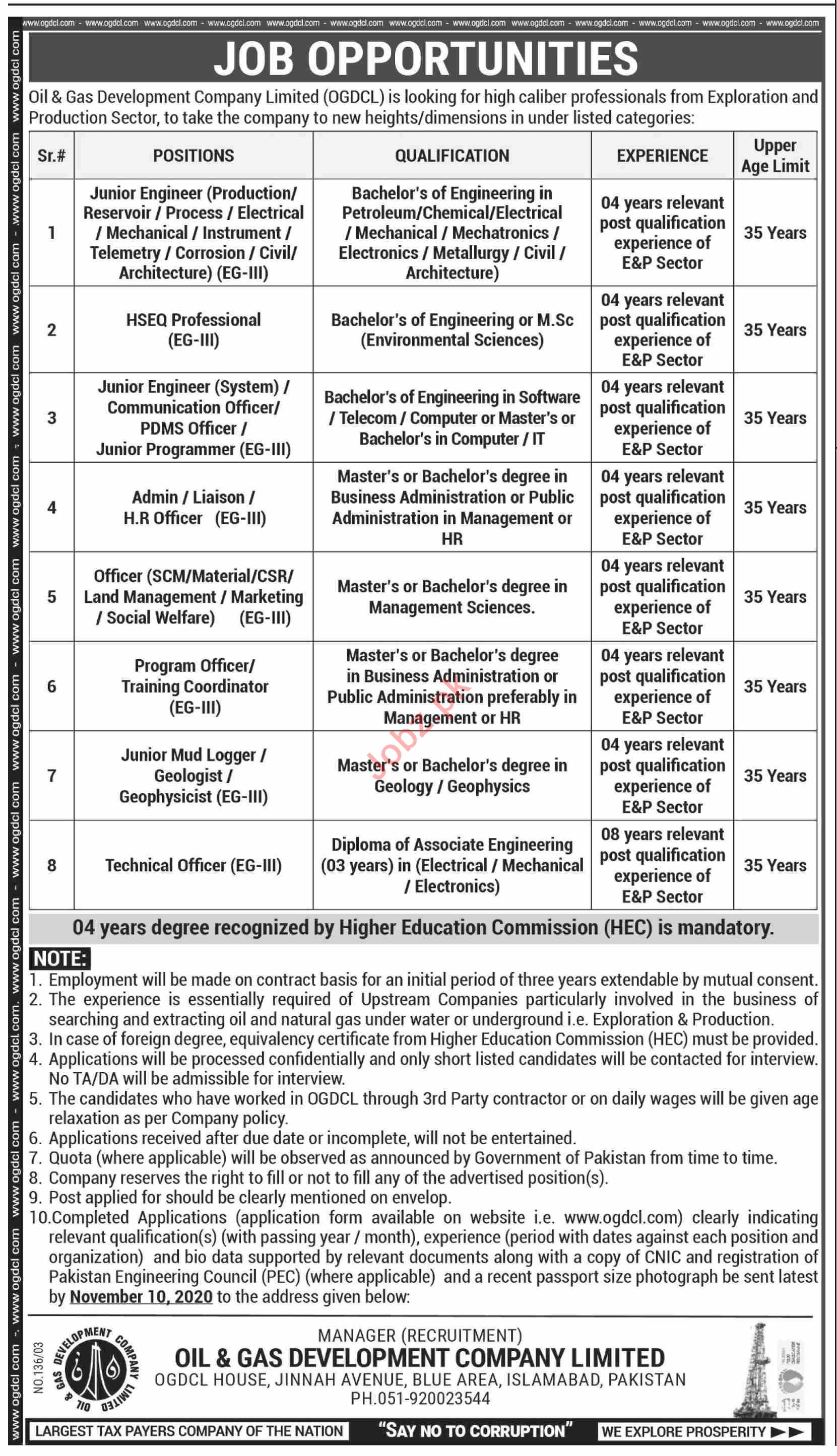 Oil & Gas Development Company OGDCL Jobs 2020 for Engineers