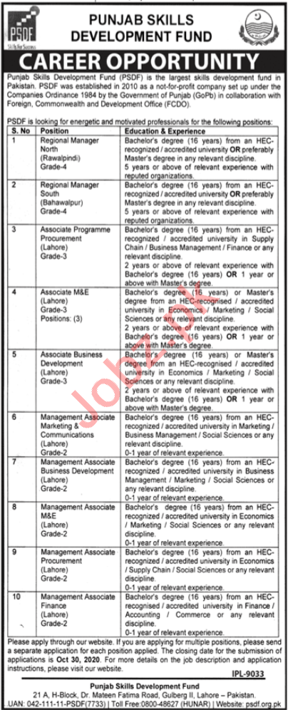 PSDF Punjab Skills Lahore Jobs 2020 for Regional Manager