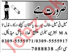 Receptionist & Data Entry Operator Jobs 2020 in Lahore