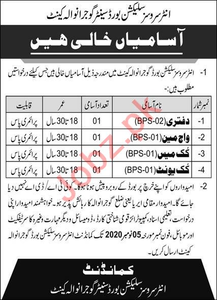 ISSB Inter Services Selection Board Gujranwala Jobs 2020