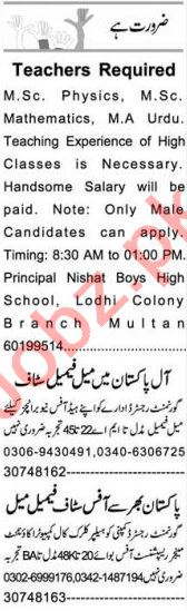 Data Entry Operator & Teacher Jobs 2020 in Multan