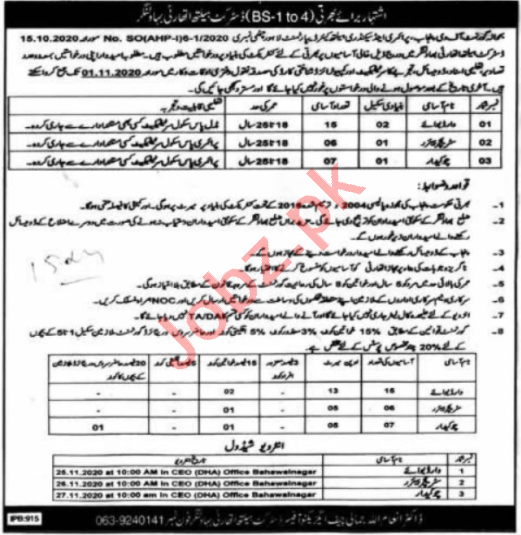 Health Department Bahawalnagar Jobs 2020 for Ward Servant