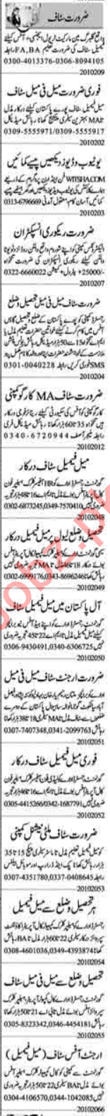 Insurance Agent & Computer Operator Jobs 2020 in Lahore