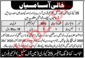 25 Cavalry Frontier Force Lahore Cantt Jobs 2020