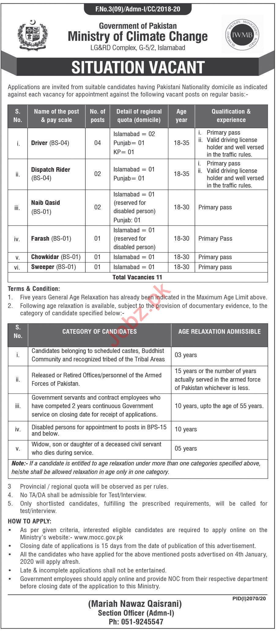 Ministry of Climate Change LG&RD Islamabad Jobs 2020