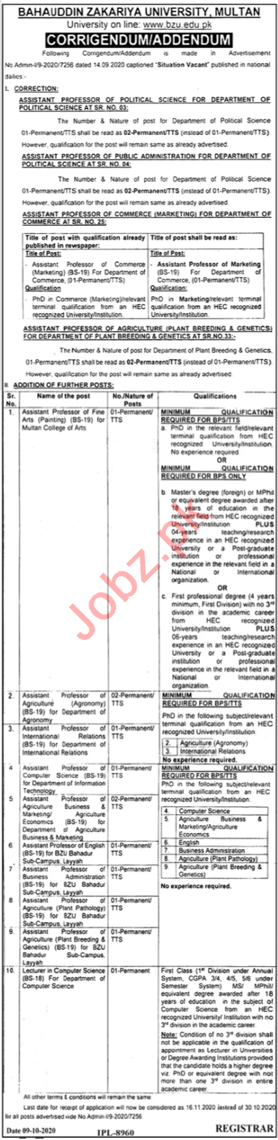 Bahauddin Zakariya University BZU Faculty Jobs 2020