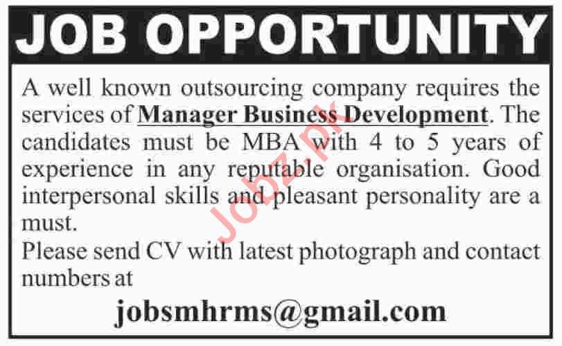 Manager & Manager Business Development Jobs 2020