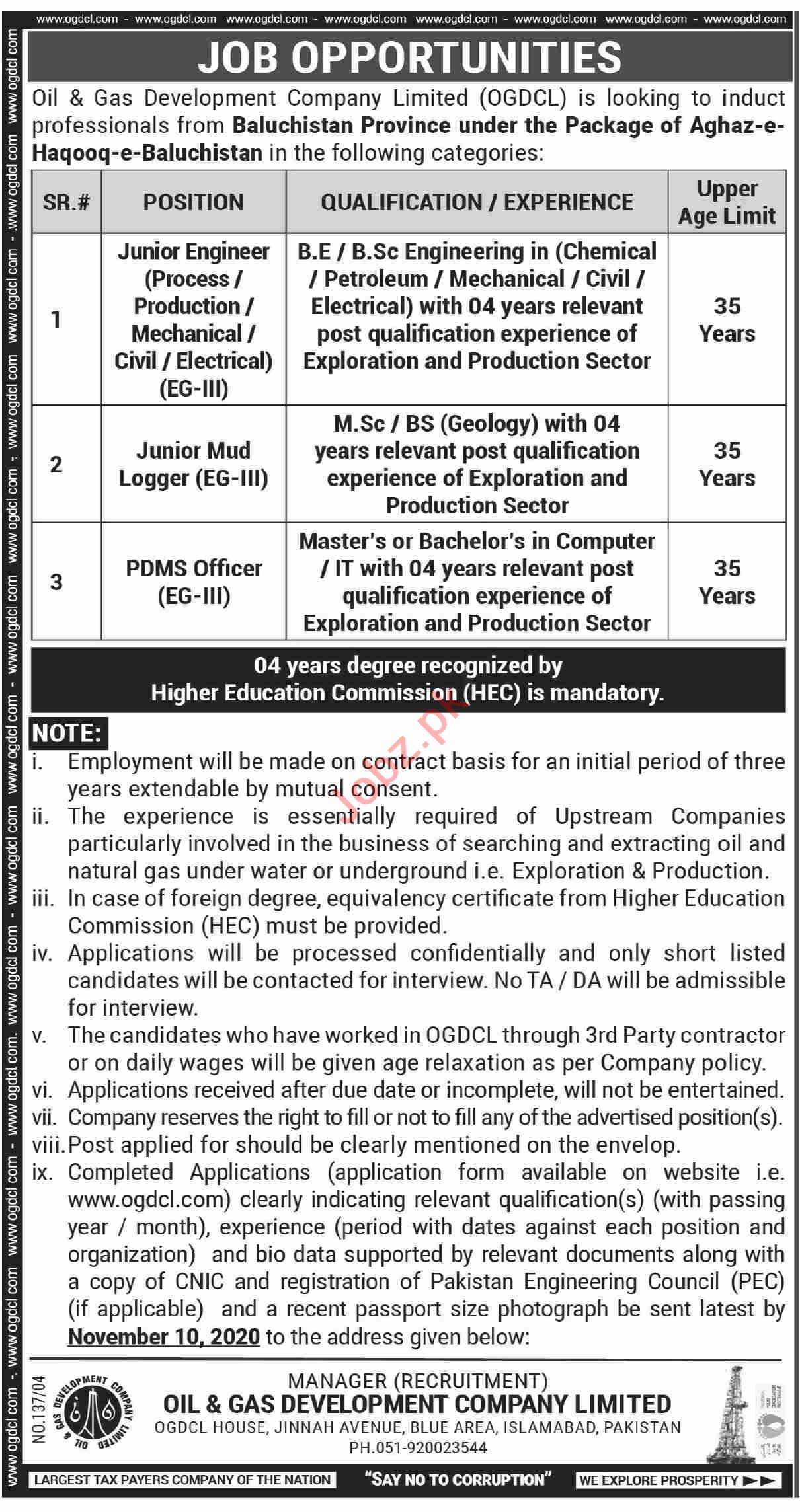 Oil & Gas Development Company OGDCL Islamabad Jobs 2020