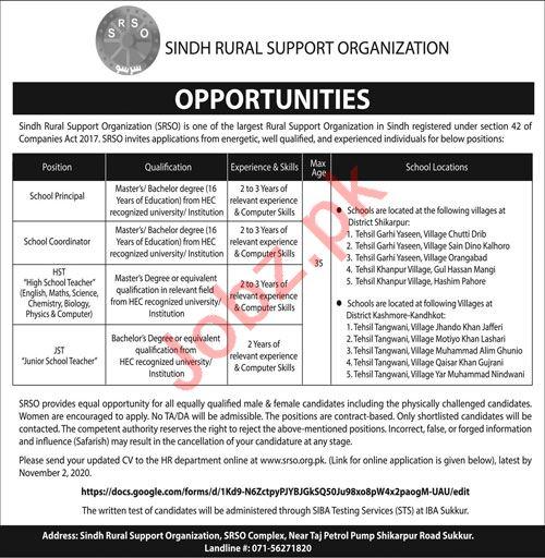 Sindh Rural Support Organization Jobs Teacher & Principal