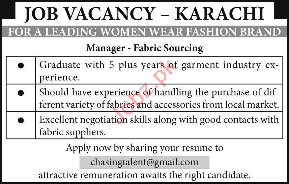 Manager & Manager Fabric Sourcing Jobs 2020 in Lahore