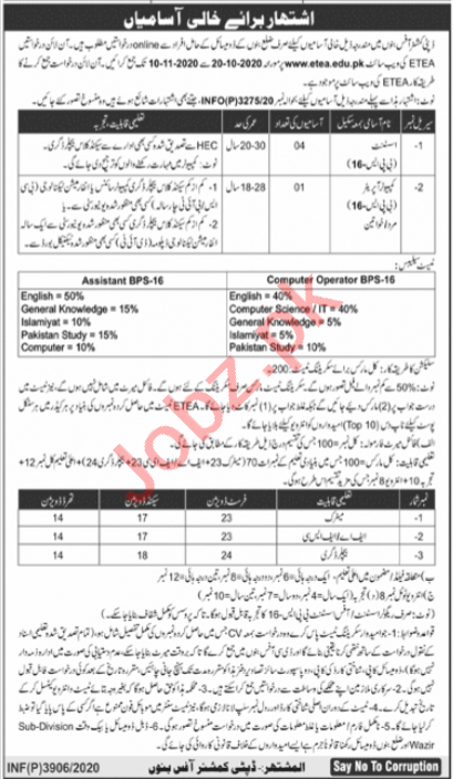 Deputy Commissioner DC Bannu Jobs 2020 for Assistants