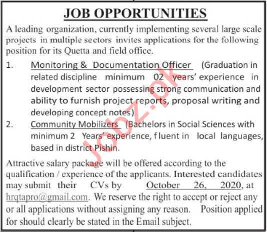 Monitoring & Documentation Officer NGO Jobs 2020